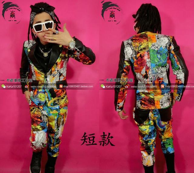 Горячие Новые Тенденции моды Мужчины граффити шить Кожаный костюм костюмы, ночные клубы певец DJ гость сценические костюмы куртки Пальто