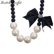 6cfe3162ba20 Encuentro-las mujeres de imitación collar de perlas collares y colgantes de  cadena de cuentas de nudo de lazo Collar para la joy.