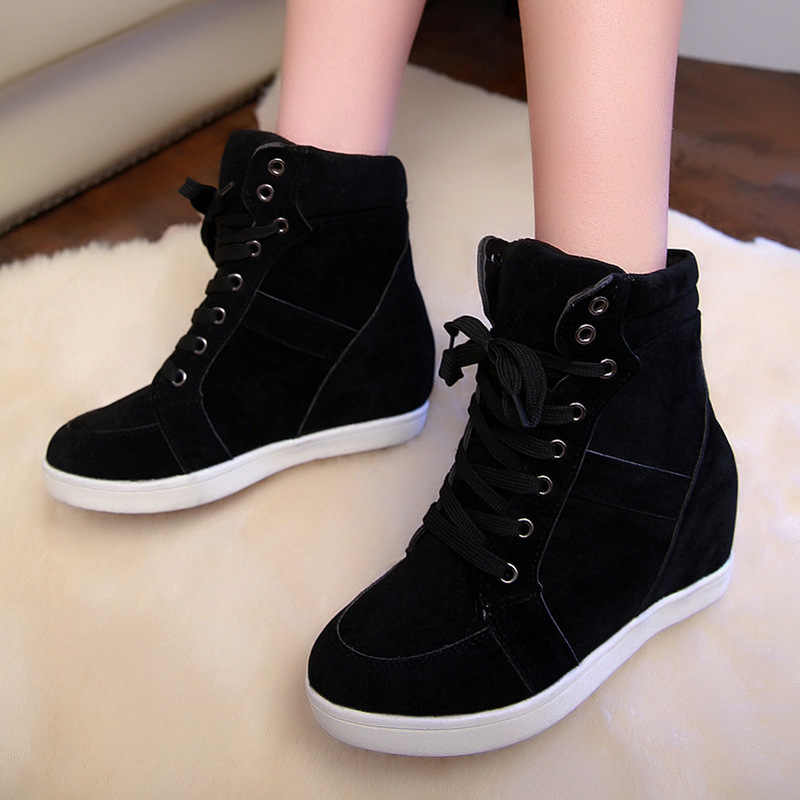 New Women Casual Shoes Women Height Increasing Platform Sneakers Wedges Boots Shoes Woman Lace-up High Top Genuine Suede Boots