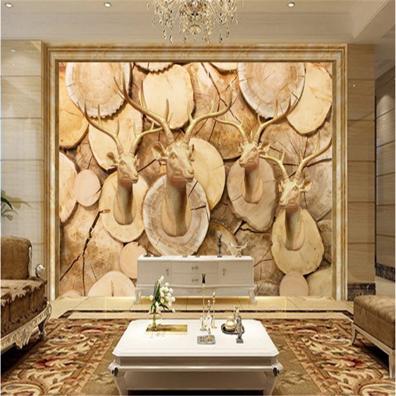 Custom Vintage Deer Head Wood Carving 3D Photo Wallpaper Murals Embossed Eco-Friendly Decor Non-Woven Wall for Living Room sunflower 3d wallpapers 3d wall murals non woven fabric eco friendly durable entrance hallway 3d stereoscopic wallpapers decor
