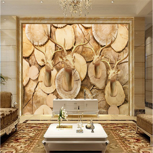 Custom Vintage Deer Head Wood Carving 3D Photo Wallpaper Murals ...