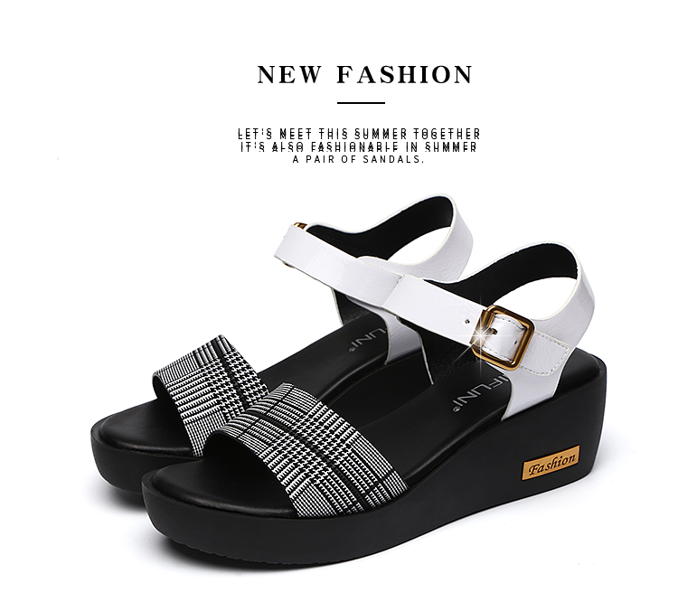 Sandals Female Summer Flat 2019 New Wild With High Heel Wedges Comfortable Non-slip Soft Bottom Pregnant Women Mother Shoes 80