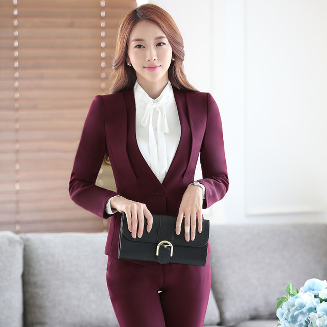 Nova Chegada Elegante Vinho 2016 Professionan Formal Feminino Pantsuits Com Conjunto Calças Blazer + Calça Calças Das Senhoras Ternos Plus Size