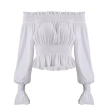 Chiffon 2018 New Casual Spring Autumn Women Shirt Flare Sleeve Slash Neck Blouse Fashion Slim White Female Tops Women's Clothing
