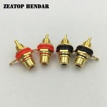 50 pçs banhado a ouro rca fêmea painel de montagem plug jack áudio soquete amplificador chassi phono conector com porca solda copo