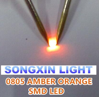 100 Pcs 0805 Smd Orange Amber Led 600-610nm Smt Led Light Diode Water Clear Diy Super Bright Diodes Diodes Active Components