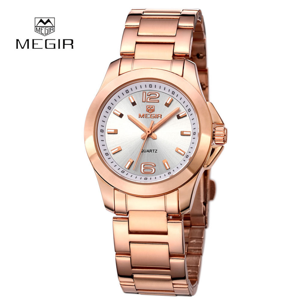 Famous Brand MEGIR Luxury Ladies Watch Brand Women Watches Fashion Quartz Wristwatch Montre Femme Clock Female Reloj Mujer 2017 montre femme de marque famous luxury brand watches women full stainless steel ladies men analog quartz watch hour clock female