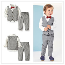Baby Boys 4pcs Suits Kids Long Shirt and Trouser Set for Wedding Party Vest and Bow tie Gentle Suit Boys 5th Birthday Party Set(China)
