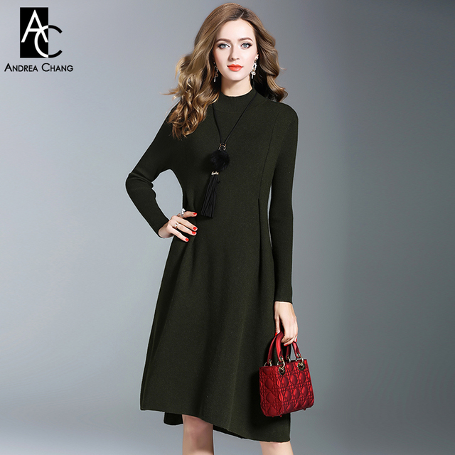 US $61.75 19% OFF|autumn winter woman dresses dark green olive color  knitted dress with tassel fur ball necklace over knee casual plus size  dress-in ...