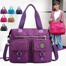Купить с кэшбэком Luxury Brand Shoulder Bags For Women 2019 Thicken Nylon Waterproof Handbag Girls Big Travel Bags Ladies Eco Shopper Tote Purses