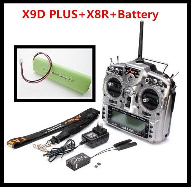 FrSky 2.4 GHz TARANIS X9D PLUS + X8R récepteur + batterie télémétrie numérique transmetteur système Radio ensemble adaptateur secteur sangle de cou