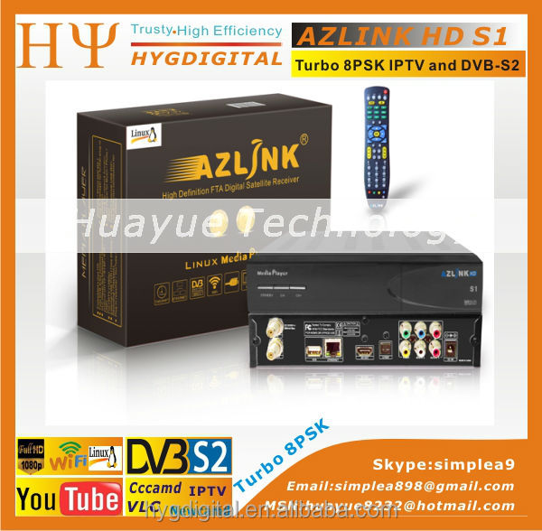 1pc Original AZLINK HD S1 FTA VLC media player and DVB-S2 support wifi and PVR with Turbo LS500 8PSK Turner LINUX IPTV Receiver mini scart dvb t tv receiver box with pvr mheg5 uk compliance media player card reader