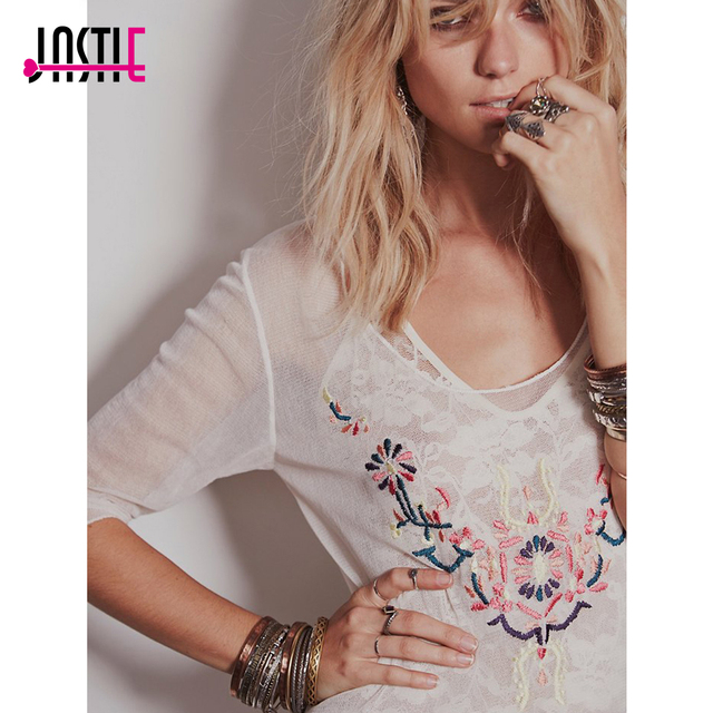 Neck Summer Beach Tunic Dress White Embroidered Mesh Sexy Tunic With Slid Boho Style Hippie Chic Vestidos (No Lining)