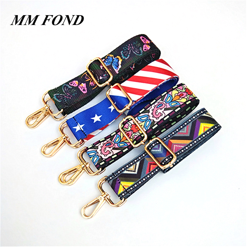 MM FOND silver clasp adjustable women fabric lady wide handbag strap chic bohemian classical female shoulder bag belts chic A261