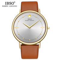 IBSO 2017 Mens Watches Top Brand Luxury 7 5MM Ultra Thin Dial Genuine Leather Strap Quartz