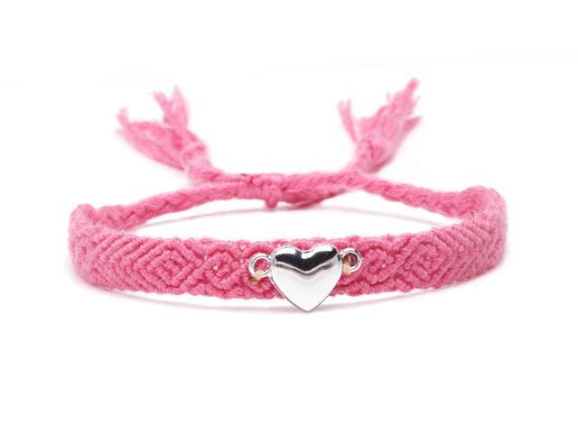 Boho Metal Love Heart Fish Bone Charm Woven Friendship Bracelet