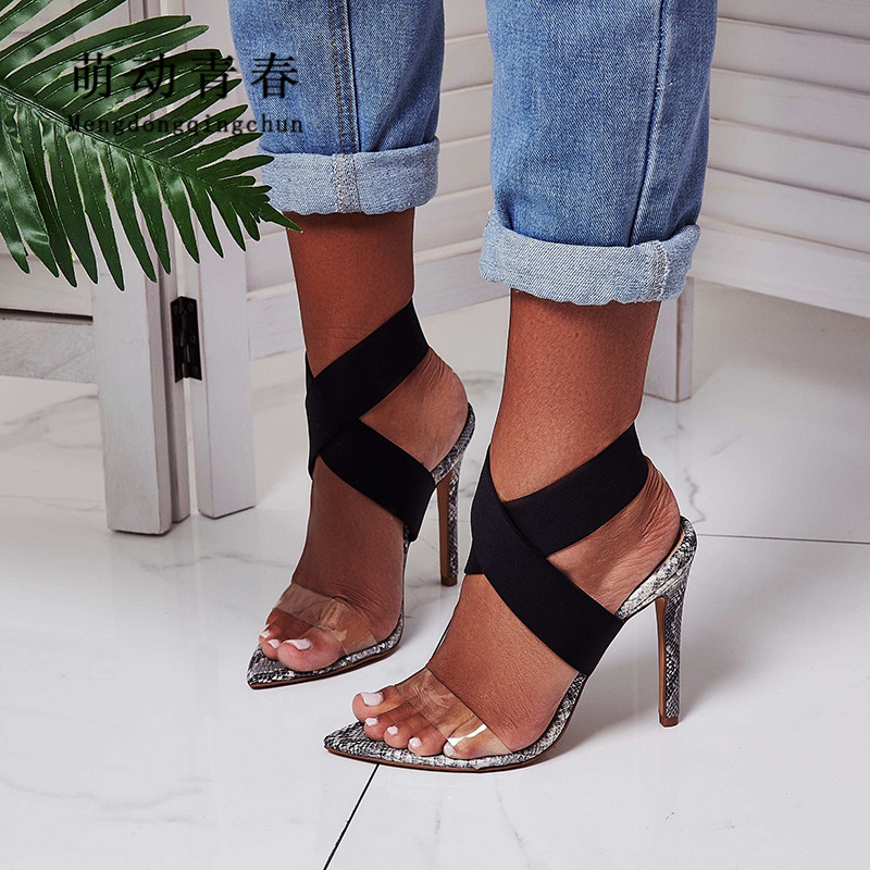 New Women Pumps Fashion Pointed Toe Clear Transparent High Heels Sandals Sexy Snake Print Stretch Fabric Gladiator Summer ShoesNew Women Pumps Fashion Pointed Toe Clear Transparent High Heels Sandals Sexy Snake Print Stretch Fabric Gladiator Summer Shoes