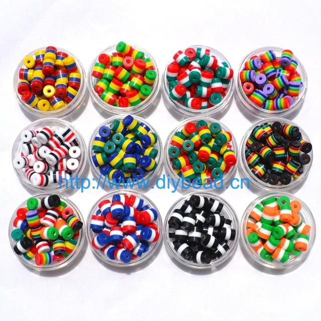 50 pcs DIY Bracelet Accessoire Enfants Artisanat Ministère 12 Couleur 9*8mm Cylindrique Résine Bande Drapeau Perles bijoux conclusions