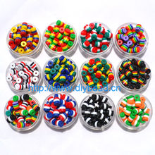 50 pcs DIY Bracelet Accessory Children Handcraft Department 12 Color 9*8MM Cylindrical Resin Stripe Flag Beads jewelry Findings(China)