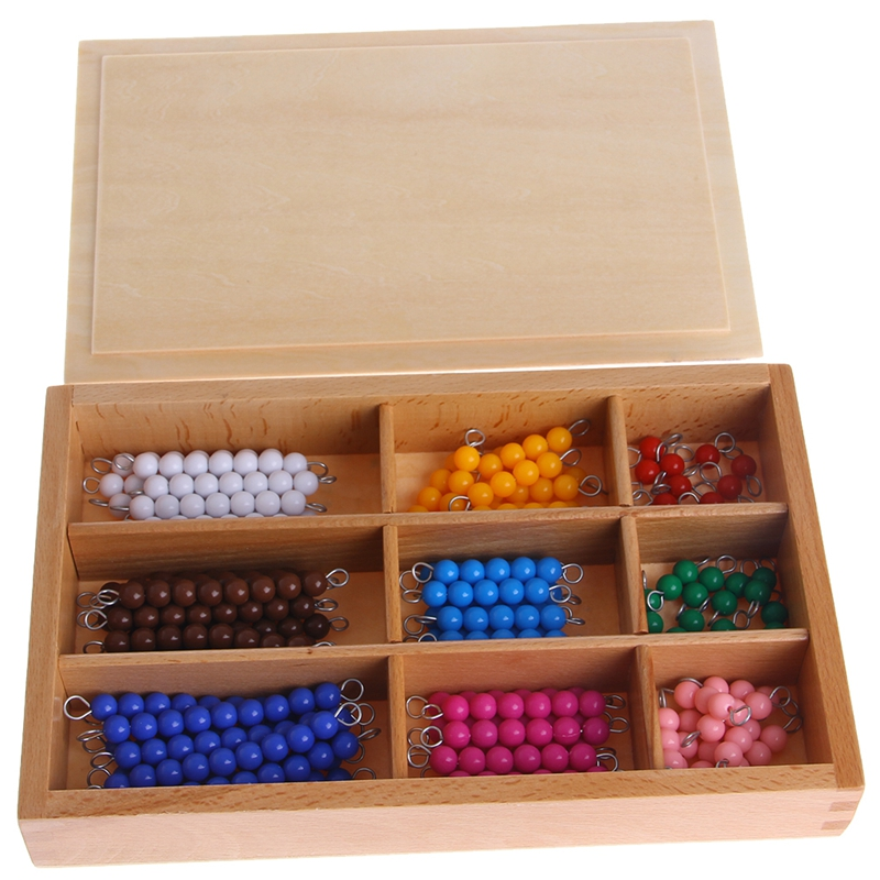 Montessori Mathematics Material 1-9 Beads Bar In Wooden Box Early Preschool Toy 95AE
