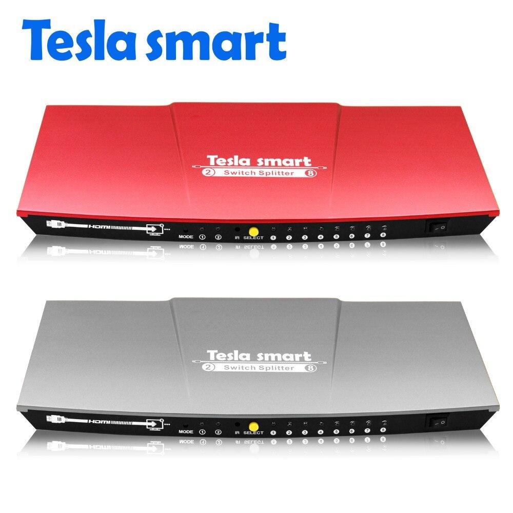 3840*2160 Treu Tesla Smart 2 In 8 Hdmi Switch Splitter 2x8 Mit Ir-fernbedienung Dual Display Auflösung Bis Zu 4 Karat Grau Rot ZuverläSsige Leistung 1080 P 3d