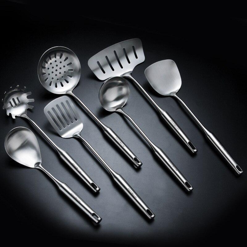 Vaisselle Sets7Pcs/Set SUS 304 Outils de Cuisson Ustensiles de Cuisine Tourneur Louche antiadhésive En Acier Inoxydable Résistance À La Température