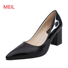 Fashion Women Pointed Toe Chunky High Heels Sexy Patent Leather Shoes Women Pumps Lazy Shoe Pink Black Red Silver Wedding Heels fashion women pointed toe chunky high heels sexy patent leather shoes women pumps lazy shoe pink black red silver wedding heels