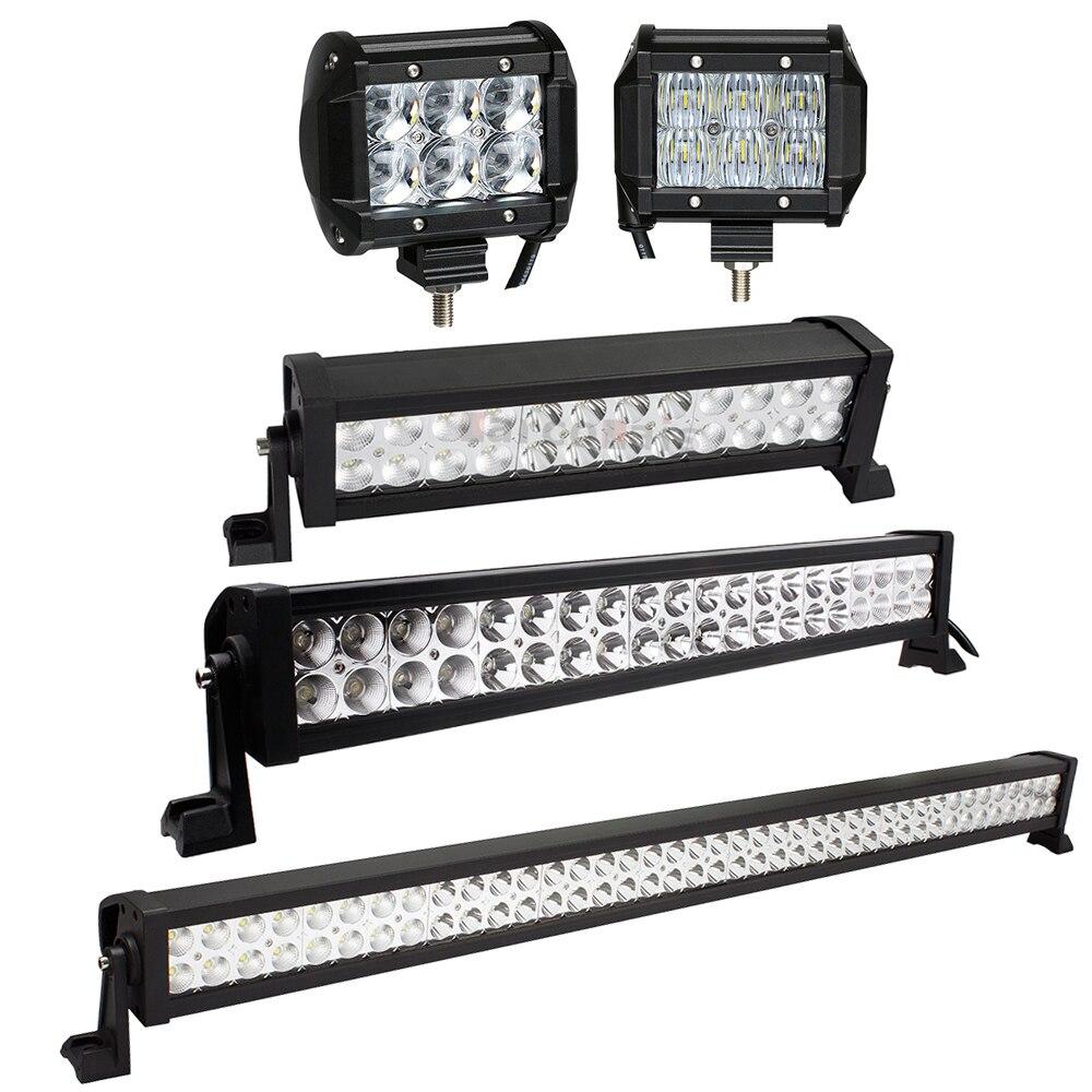 Barra de luz de led 4 - 42 polegadas, barra de luz led para caminhão, carro, barco, trator atv suv 4wd 4 luz led para trabalho x 4 12v 24v