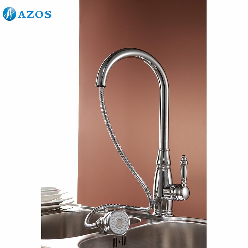 Kitchen Sink Faucets Rotatable Shower Hose Pull Out Down Spray ...