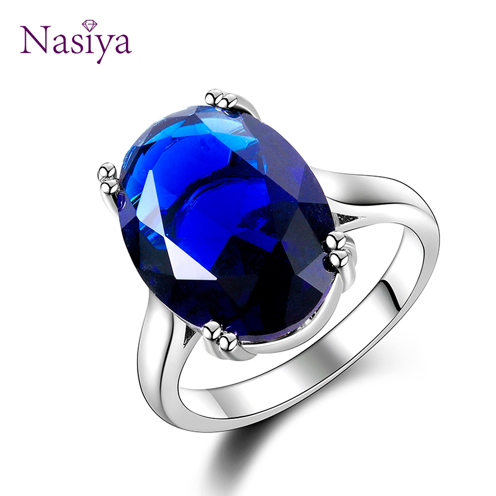 Nasiya Hot sale Big Aquamarine Rings 13x18MM Gemstone Silver 925 Jewelry Ring For Women 6 Color High Quality Engagement Jewelry