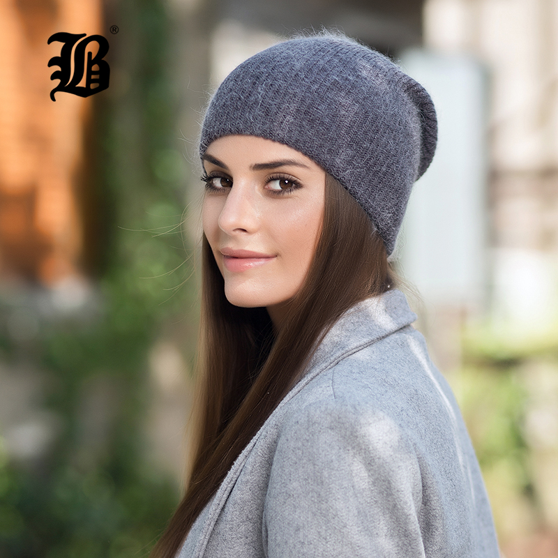 [FLB] Double-Deck Soft Rabbit Knitting Thick Bonnet Warm Caps Solid Winter Hats For Women's Hat   Skullies     Beanies   Female F18059