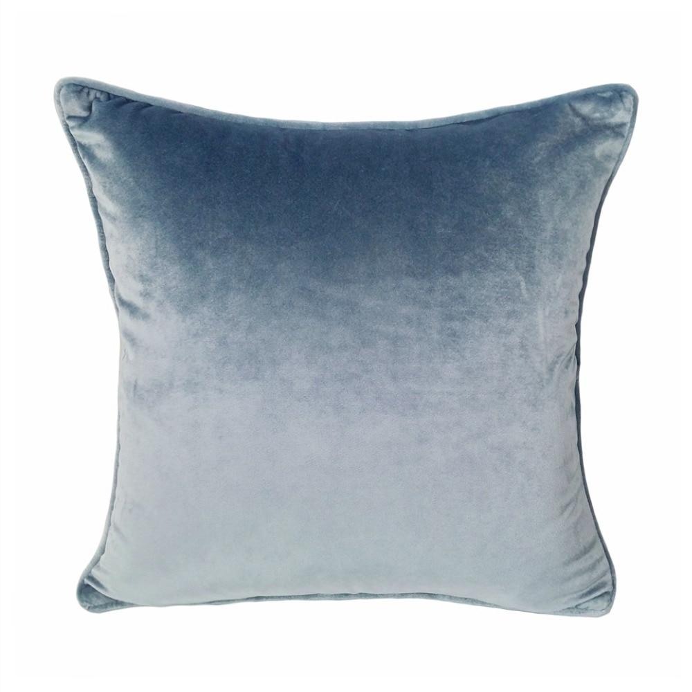 2017 Soft Solid Gray Velvet Pillow Case Gray Blue Velour