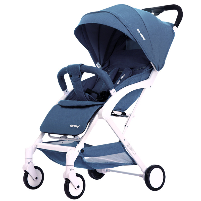 Baby trolley ultra light portable four-wheeled pocket cart one button to collect the car reclining can sit on board contrast trim pocket notch lapel texture one button blazer