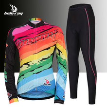 New Women's long sleeve Cycling sets suits breathable cool Bike Bicycle jerseys shirts+ladies full length cycling pants tights