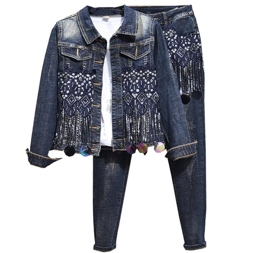 plus size 2XL! Women 2 Piece set Jacket and Pencil Jeans tassel sequins Tracksuit Jeans Denim Set Women Two Piece Sets