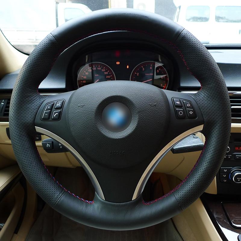 цена на Appdee Black Genuine Leather Car Steering Wheel Cover for BMW E90 320i 325i 330i 335i E87 120i 130i 120d