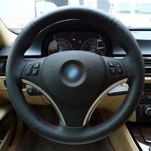 Appdee Negro Cuero Genuino Cubierta Del Volante Del Coche para BMW E90 320i 325i 330i 335i 120d E87 120i 130i