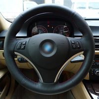 Appdee Black Genuine Leather Car Steering Wheel Cover for BMW E90 320i 325i 330i 335i E87 120i 130i 120d