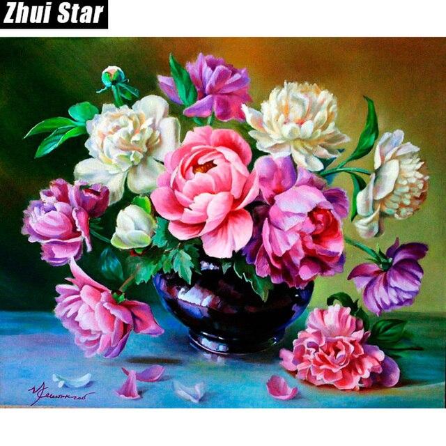 Penuh Persegi Berlian 5d Diy Berlian Lukisan Bunga Pot Bordir