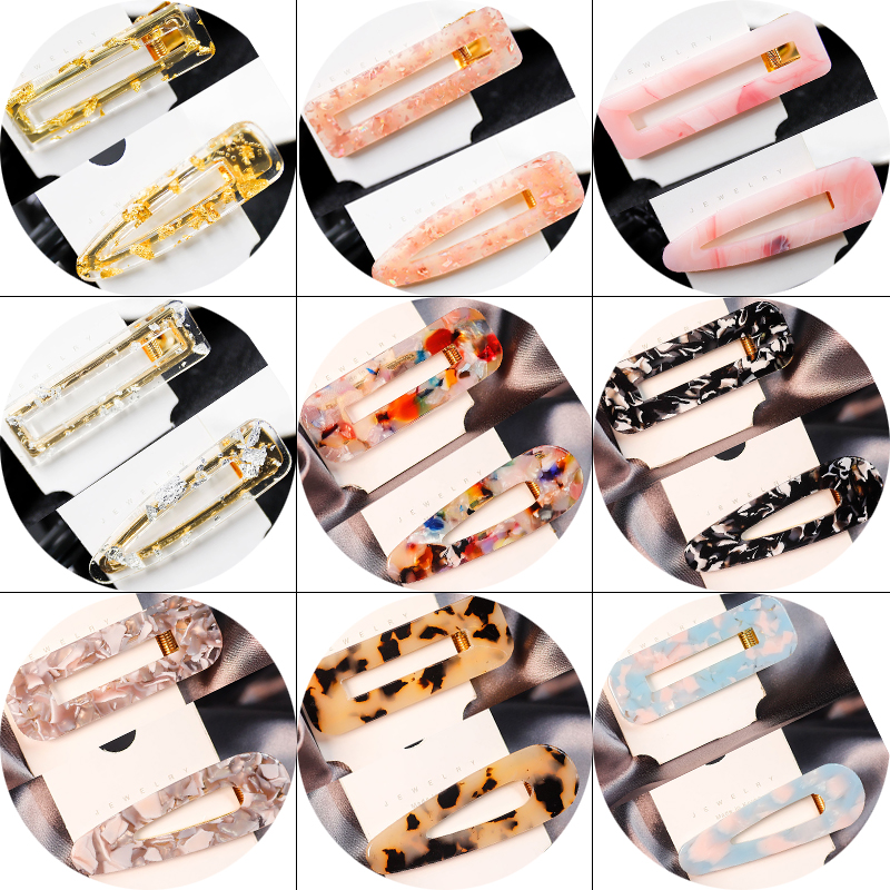 2Pcs Fashion Acrylic Hollow Waterdrop Rectangle Hair Clips Sequins Hairpins Barrettes Styling Hair Accessories For Women Girls