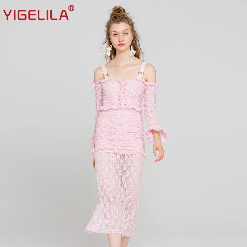 ¡Novedad de 2019! vestido largo YIGELILA de encaje rosa para mujer, vestido liso de vaina imperial con mangas acampanadas y cuello oblicuo 62990