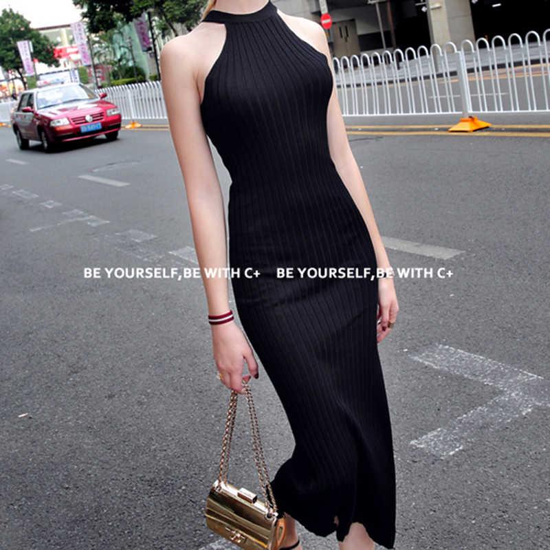 Женское длинное вязаное платье весна сексуальное, узкое, обтягивающее платье эластичное обтягивающее платье с разрезом короткое черное платье с бретельками vestidos
