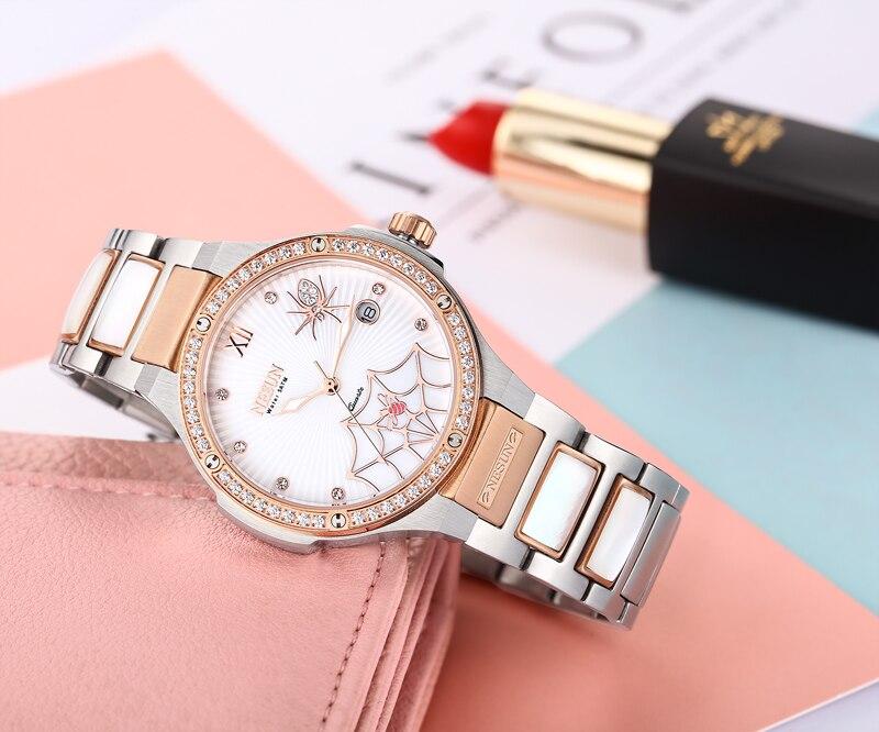 Zwitserland Luxe Merk Horloge Vrouwen NESUN vrouwen Horloges Quartz Relogio Feminino Spider Klok Diamond Horloges N9910 1-in Dameshorloges van Horloges op  Groep 3
