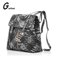 Weaving PU leather Patchwork blue gray brown red ladies women's backpack school bag for teenagers lady girls female  students