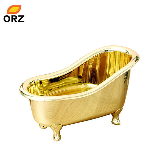 Bathroom Storage Box Basket Bathtub Shape Gold Plated Color Spa ...