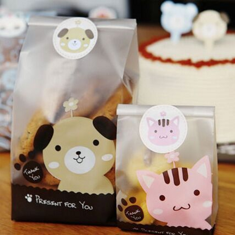 25Pcs/Pack Cartoon Dog Cat Rabbit Candy Cookie Adhesive Bag Gift Plastic Bags Wedding Birthday Party Packaging Bags