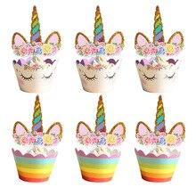 24 piezas unicornio Arco Iris pastel Toppers Cupcake envoltorios cumpleaños fiesta pastel decoración bebé ducha unicornio fiesta suministros