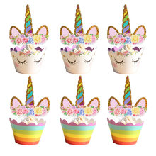 24Pcs Unicorn Rainbow Cake Toppers Cupcake Wrappers Birthday Party Cake Decoration Baby Shower Unicorn Party Supplies(China)