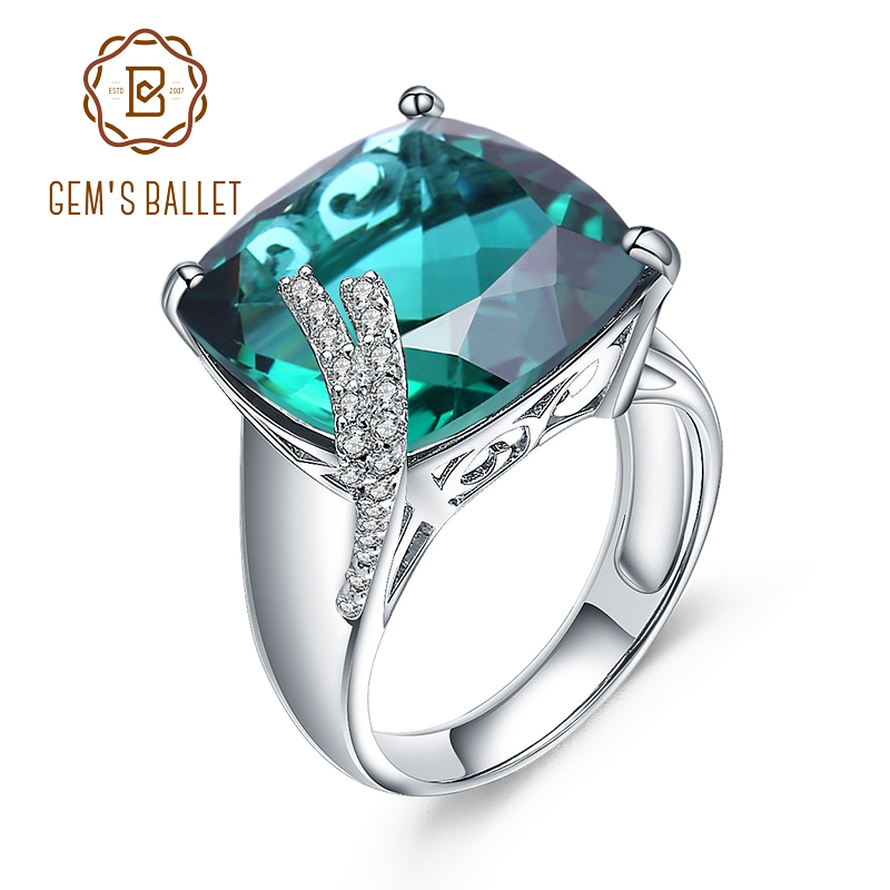 Gem s Ballet Luxury Wedding Ring Real 925 Sterling Silver Rings Green amethyst Square Gemstone Ring