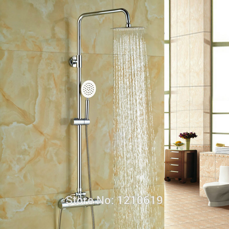Uythner Newly Brass Bathroom 8 Thermostatic Shower Faucet Set w/ Hand Shower Chrome Plate Mixer Tap wall mounted two handle auto thermostatic control shower mixer thermostatic faucet shower taps chrome finish